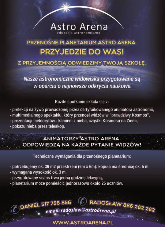 Już dziś zaproś planetarium Astro Arena do swojej szkoły lub przedszkola.