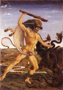 Herkules zabija Hydrę. Obraz Antonio del Pollaiolo. Wikimedia
