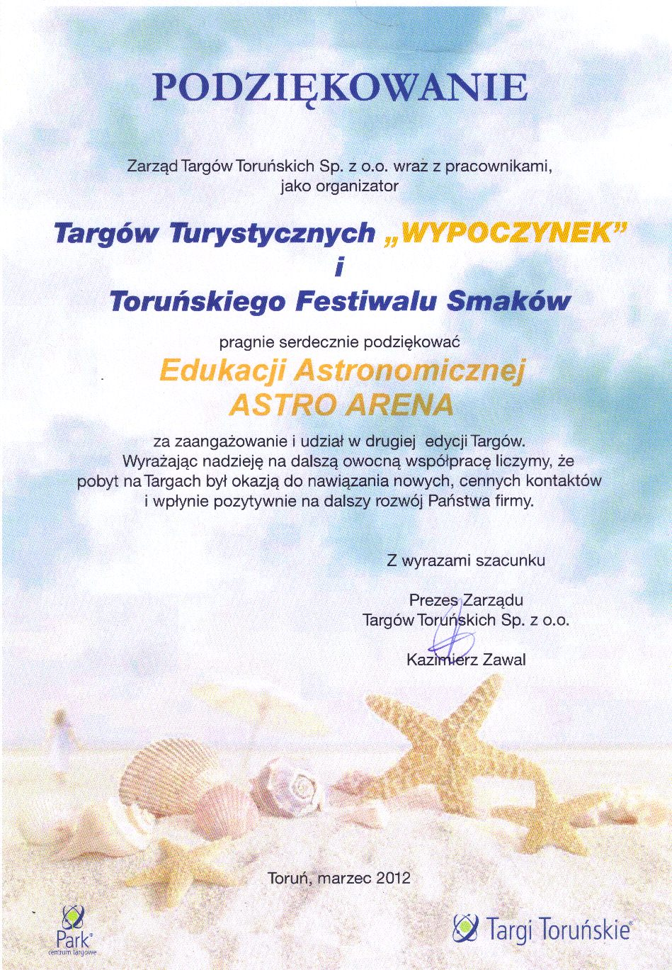 Podziękowanie Targi Turystyczne - Toruń 2012
