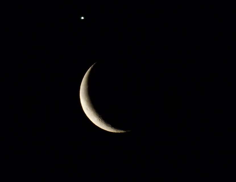 Koniunkcja Księżyca i Wenus 26 lutego 2014 r. Fot. Damian Kowalski