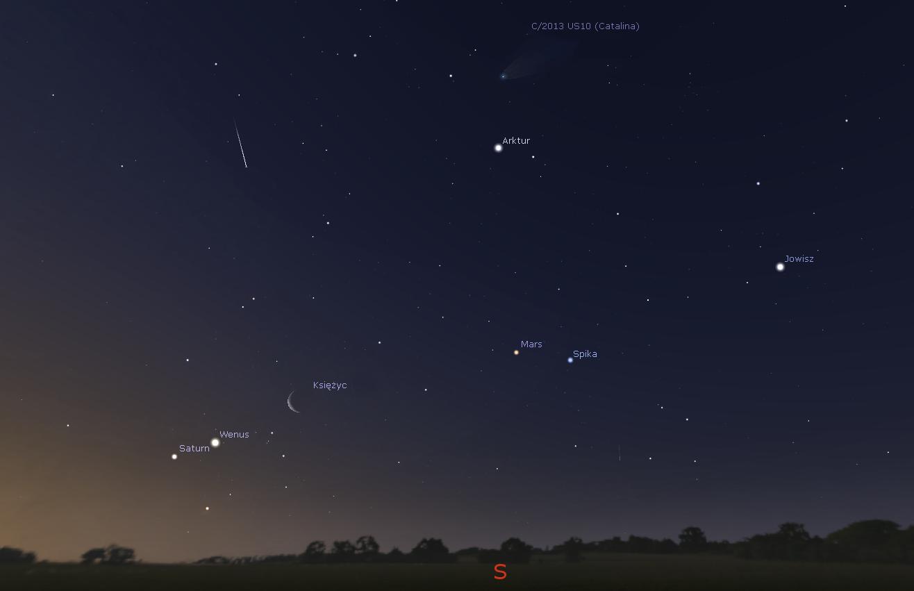 Południowe niebo 6 stycznia 2016 roku. Widać jasne gwiazdy, planety Wenus, Saturn, Mars oraz Jowisz, a także kometę Catalina
